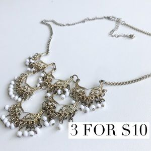 White and gold chandelier statement necklace